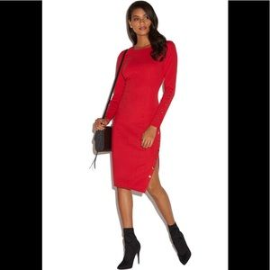 NWT Shoe Dazzle Snap Detail Red Midi Dress